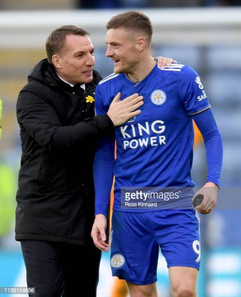 Brendan Rogers the manager of Leicester and Jamie Vardy of Leicester after the Premier League match between Leicester City and Fulham FC at The King...