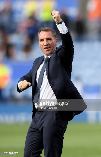 Brendan Rogers the manager of Leicester celebrates after the Premier League match between Leicester City and AFC Bournemouth at The King Power...