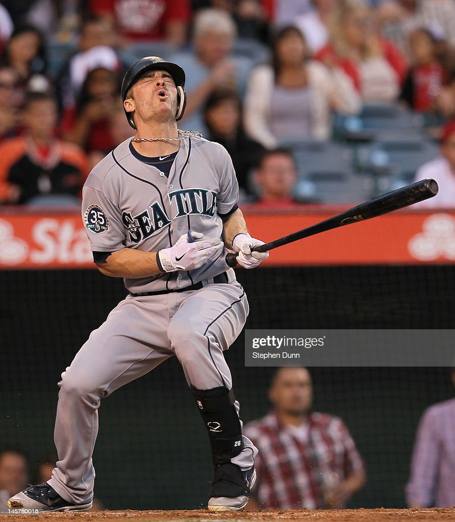 Brendan Ryan #26 of the Seattle Mariners reacts after takiong a pitch against the Los Angeles Angels of Anaheim at Angel Stadium of Anaheim on June 5, 2012 in Anaheim, California.
