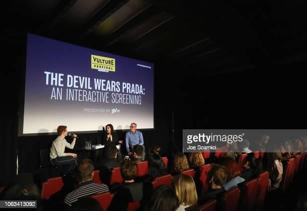 Brendan Scannell, Aline Brosh McKenna and Brendan Scannell speak onstage during 'The Devil Wears Prada: An Interactive Screening Presented by...