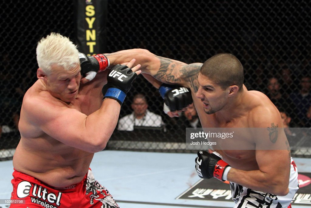 Brendan Schaub connects with a right to the face of Chris Tuchscherer that knocks out Tuchscherer in the first round during the UFC heavyweight bout at the MGM Grand Garden Arena on July 3, 2010 in Las Vegas, Nevada.