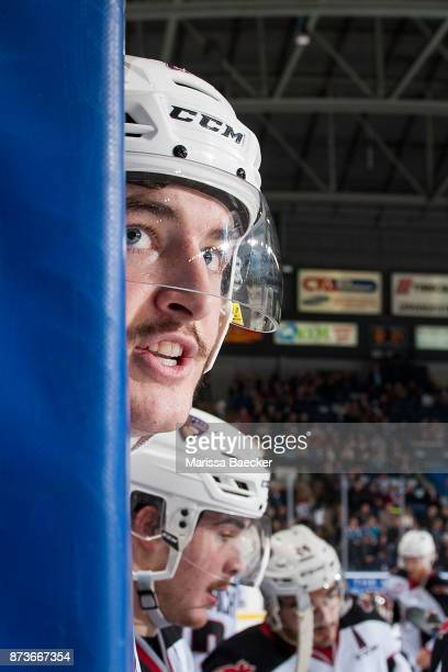 Brendan Semchuk of the Vancouver Giants trash talks the bench of the Kelowna Rockets at Prospera Place on November 10 2017 in Kelowna Canada