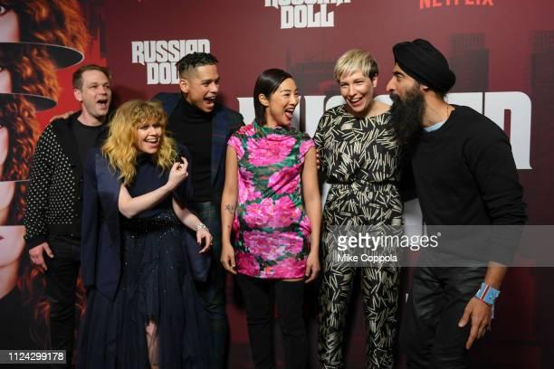 "Brendan Sexton III, Actors Natasha Lyonne, Charlie Barnett, Greta Lee, Rebecca Henderson and Waris Ahluwalla attend Netflix's ""Russian Doll"" Season 1..."