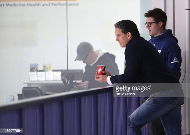 Brendan Shanahan and Kyle Dubas chat was they watch the Toronto Maple Leafs practice before game four against the Boston Bruins in their first round...