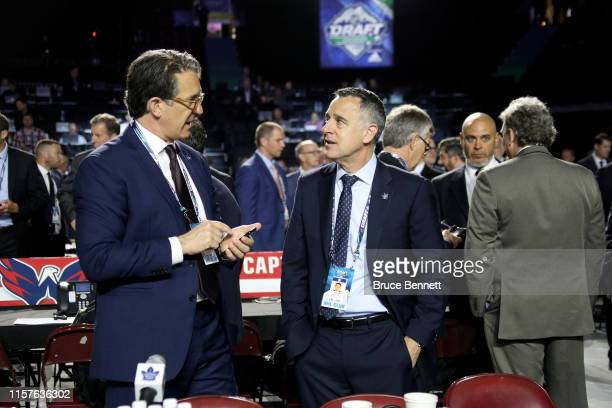 Brendan Shanahan and Laurence Gilman of the Toronto Maple Leafs attend the 2019 NHL Draft at Rogers Arena on June 22 2019 in Vancouver Canada