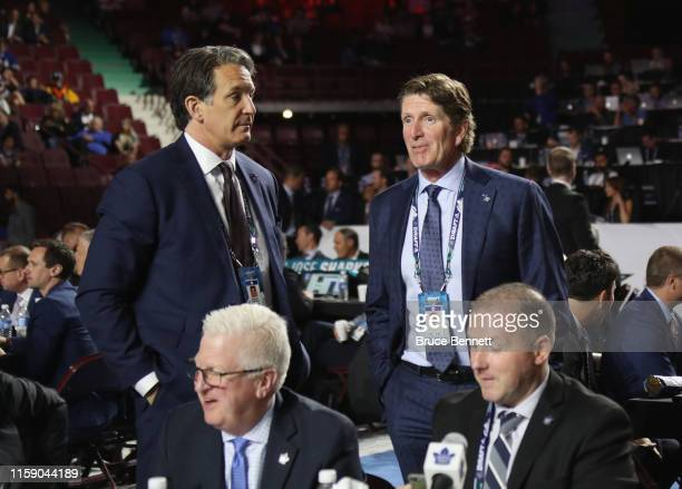 Brendan Shanahan and Mike Babcock attend the 2019 NHL Draft at the Rogers Arena on June 22 2019 in Vancouver Canada
