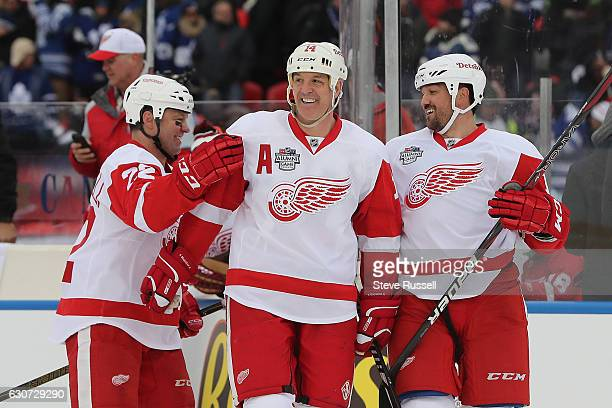 Brendan Shanahan celebrates the win with his team over his team as the Toronto Maple Leafs alumni lose to the Detroit Red Wings alumni 4-3 on the eve...