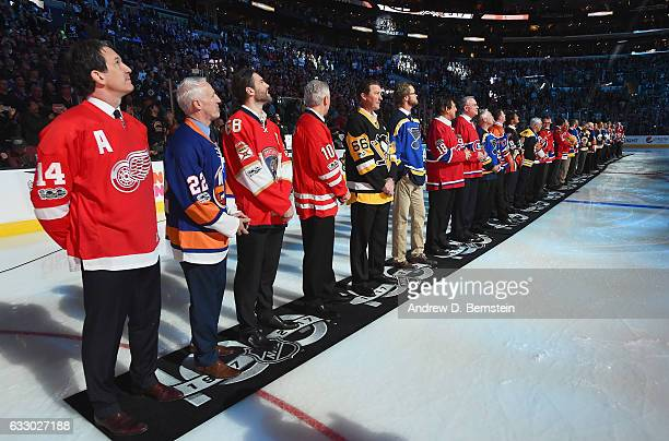 Brendan Shanahan Mike Bossy Jaromir Jagr Ron Francis Mario Lemieux Chris Pronger and members of the NHL 100 line up on the ice prior to the 2017...