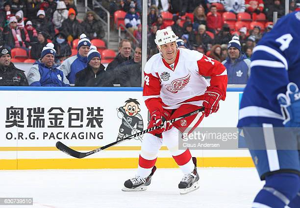 Brendan Shanahan of the Detroit Red Wings Alumni skates against the Toronto Maple Leafs Alumni during the 2017 Rogers NHL Centennial Classic Alumni...