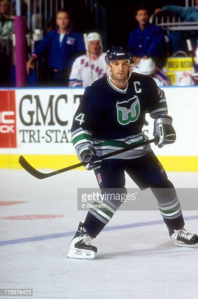 Brendan Shanahan of the Hartford Whalers skates on the ice during an NHL game against the New York Rangers circa 1996 at the Madison Square Garden in...