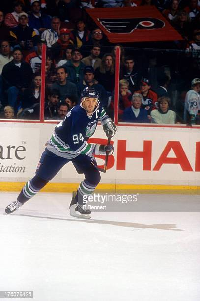 Brendan Shanahan of the Hartford Whalers skates on the ice during an NHL game against the Philadelphia Flyers on November 5 1995 at the CoreStates...