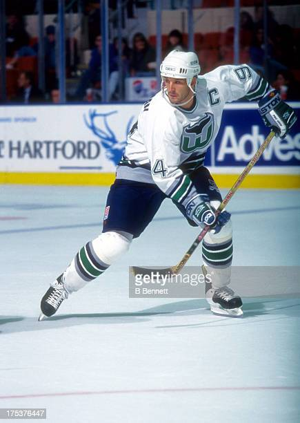 Brendan Shanahan of the Hartford Whalers skates on the ice during an NHL game circa 1996 at the Hartford Civic Center in Hartford Connecticut