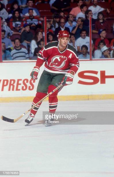 Brendan Shanahan of the New Jersey Devils skates on the ice during an NHL game against the Philadelphia Flyers in September 1990 at the Spectrum in...