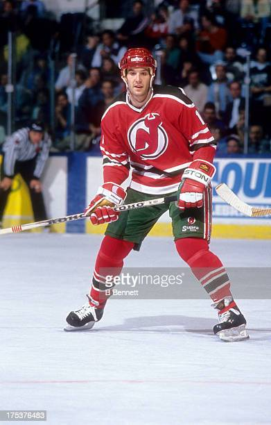Brendan Shanahan of the New Jersey Devils skates on the ice during an NHL game against the New York Islanders circa 1991 at the Nassau Coliseum in...