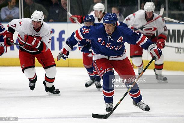 Brendan Shanahan of the New York Rangers skates with the puck against the Carolina Hurricanes on November 21 2006 at Madison Square Garden in New...