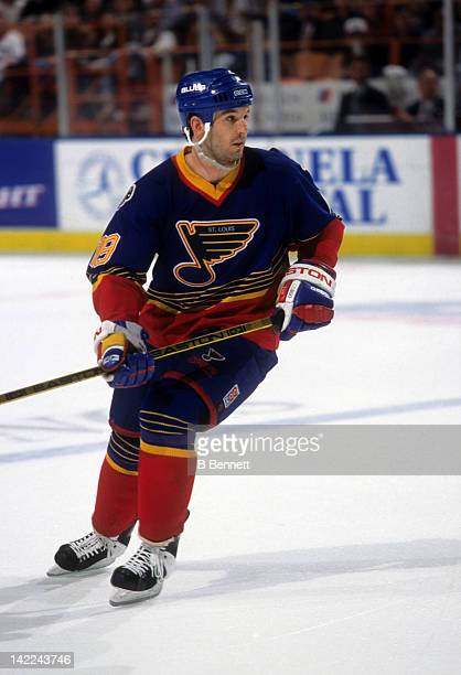 Brendan Shanahan of the St Louis Blues skates on the ice during an NHL game against the Los Angeles Kings in March 1995 at the Great Western Forum in...