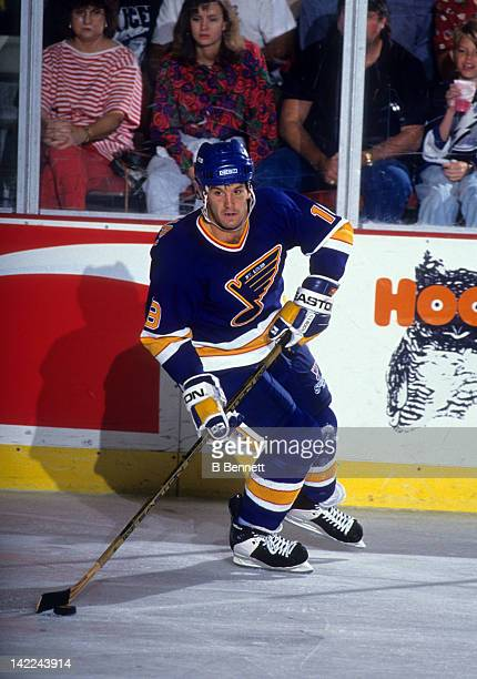Brendan Shanahan of the St Louis Blues skates with the puck during an NHL game against the Tampa Bay Lightning circa 1993 at the Florida Sucoast Dome...
