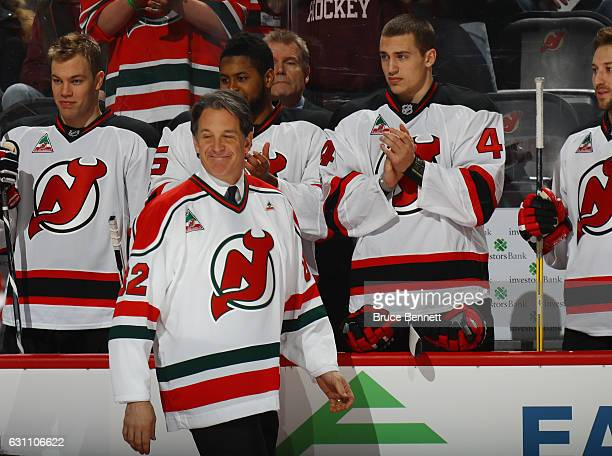 Brendan Shanahan of the Toronto Maple Leafs attends the pregame ceremonies held by the New Jersey Devils to honor Dr John J McMullen at the...