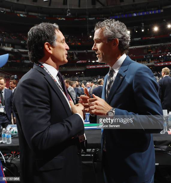 Brendan Shanahan of Toronto and Trevor Linden of Vancouver attend the 2017 NHL Draft at the United Center on June 23 2017 in Chicago Illinois