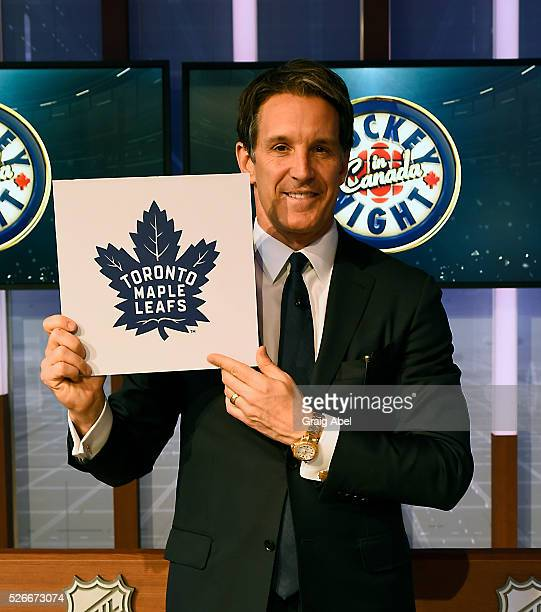 Brendan Shanahan President of the Toronto Maple Leafs shows off the Leafs first overall draft pick during The National Hockey League Draft Lottery at...