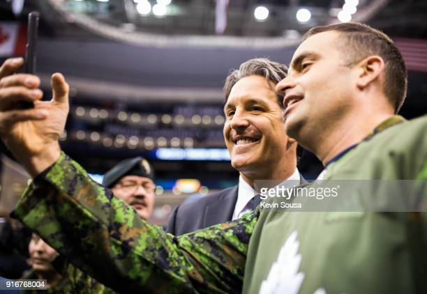 Brendan Shanahan President of the Toronto Maple Leafs takes part in Military Night with military personnel at the Air Canada Centre on February 10...