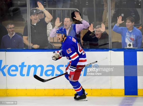 Brendan Smith of the New York Rangers celebrates a goal in the third period against the Winnipeg Jets at Madison Square Garden on October 03, 2019 in...