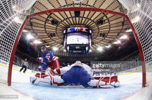 Brendan Smith of the New York Rangers scores into the top corner at 2:40 of the second period against Carey Price of the Montreal Canadiens at...