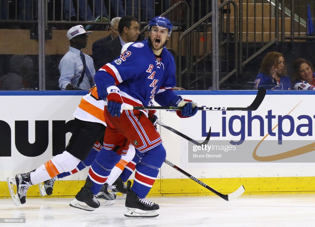 Brendan Smith #42 of the New York Rangers yells towards the referee during the third period against the Philadelphia Flyers at Madison Square Garden on April 2, 2017 in New York City. The Rangers defeated the Flyers 4-3.