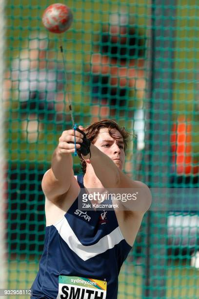 Brendan Smith of Victoria competes in the Men's Hammer Throw U20 during day four of the Australian Junior Athletics Championships at the Sydney...