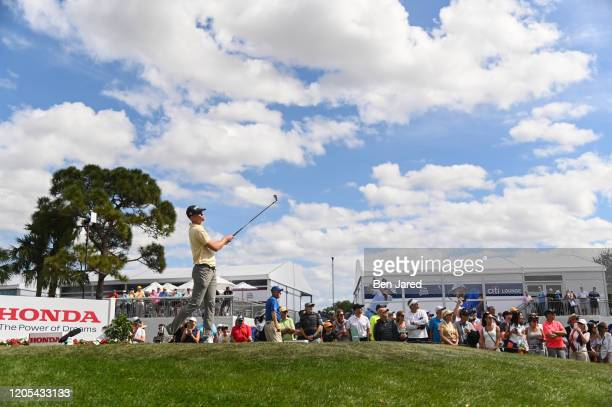 Brendan Steele hits a shot on the fourth tee during the final round of The Honda Classic at PGA National Champion course on March 1 2020 in Palm...