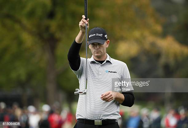 Brendan Steele lines up a putt on the 18th hole during the final round of the Safeway Open at the North Course of the Silverado Resort and Spa on...