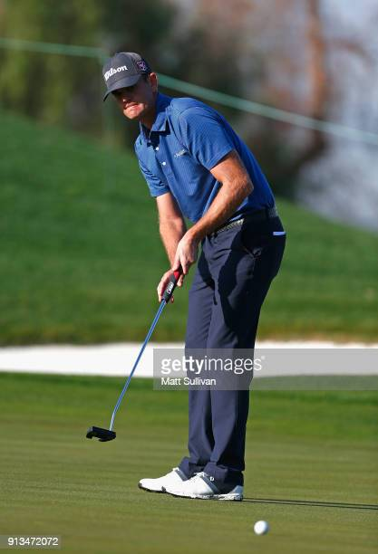 Brendan Steele lines up a putt on the fourth hole during the second round of the Waste Management Phoenix Open at TPC Scottsdale on February 2 2018...