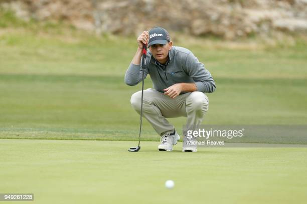 Brendan Steele looks over a putt on the 13th green during the second round of the Valero Texas Open at TPC San Antonio ATT Oaks Course on April 19...