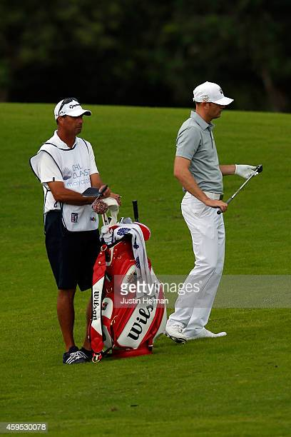 Brendan Steele of the United States hits his second shot on the 9th hole during the third round of the OHL Classic at Mayakoba on November 15 2014 in...