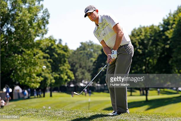 Brendan Steele of the United States hits his third shot on the ninth hole during round one of the RBC Canadian Open at Glen Abby Golf Club on July 25...