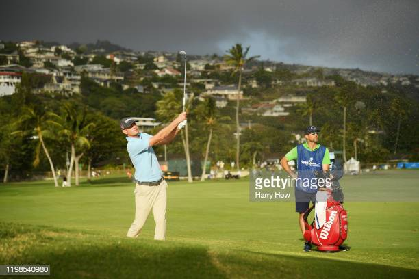 Brendan Steele of the United States plays a shot from a bunker on the 17th hole during the first round of the Sony Open in Hawaii at the Waialae...