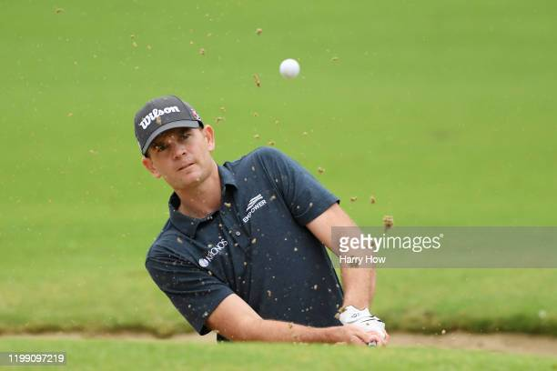 Brendan Steele of the United States plays a shot from a bunker on the sixth hole during the final round of the Sony Open in Hawaii at the Waialae...