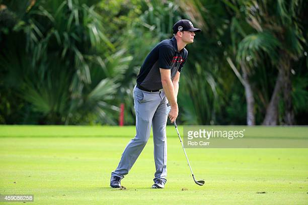 Brendan Steele of the United States plays a shot on the 17th hole during the final round of the OHL Classic at the Mayakoba El Camaleon Golf Club on...