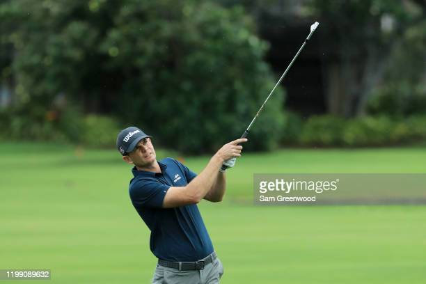 Brendan Steele of the United States plays a shot on the second hole during the final round of the Sony Open in Hawaii at the Waialae Country Club on...