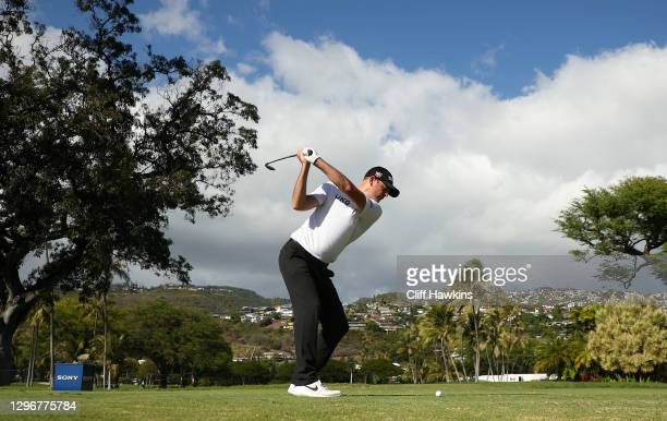 Brendan Steele of the United States plays his shot from the 14th tee during the third round of the Sony Open in Hawaii at the Waialae Country Club on...