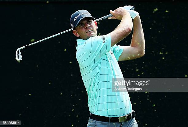 Brendan Steele of the United States plays his shot from the 16th tee during the first round of the 2016 PGA Championship at Baltusrol Golf Club on...