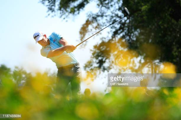 Brendan Steele of the United States plays his shot from the ninth tee during the first round of the Valspar Championship on the Copperhead course at...