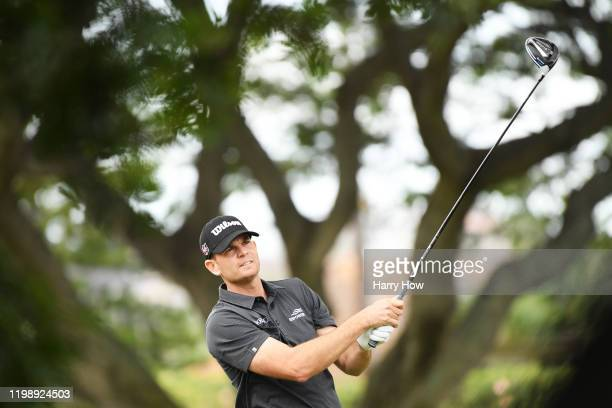 Brendan Steele of the United States plays his shot from the second tee during the third round of the Sony Open in Hawaii at the Waialae Country Club...