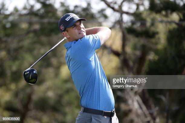 Brendan Steele of the United States plays his shot from the second tee during the first round of the World Golf ChampionshipsDell Match Play at...