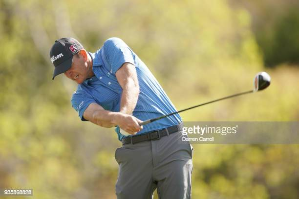 Brendan Steele of the United States plays his shot from the third tee during the first round of the World Golf ChampionshipsDell Match Play at Austin...