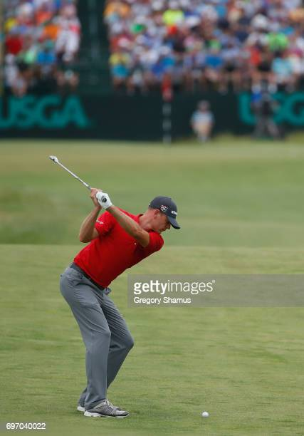 Brendan Steele of the United States plays his shot on the 17th hole during the third round of the 2017 US Open at Erin Hills on June 17 2017 in...