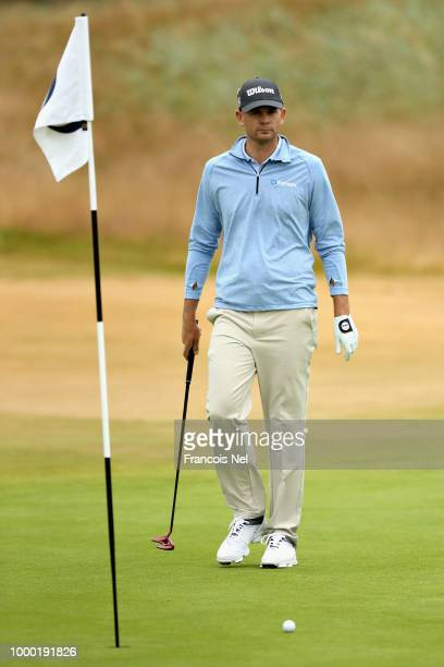Brendan Steele of the United States putts on hole eleven on a practice round during previews ahead of the 147th Open Championship at Carnoustie Golf...
