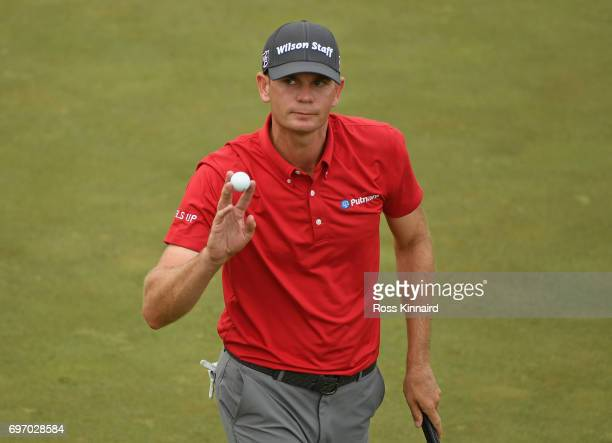 Brendan Steele of the United States reacts after making a birdie on the 15th green during the third round of the 2017 US Open at Erin Hills on June...