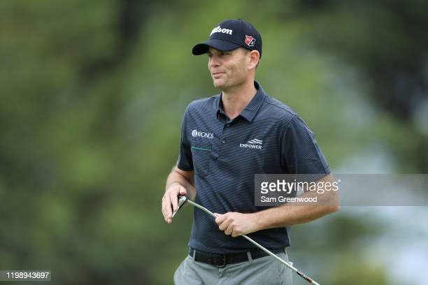 Brendan Steele of the United States reacts on the 14th green during the third round of the Sony Open in Hawaii at the Waialae Country Club on January...