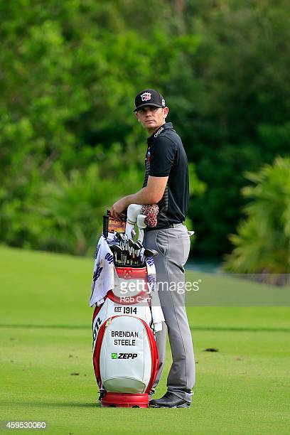 Brendan Steele of the United States waits to play a shot on the 17th hole during the final round of the OHL Classic at the Mayakoba El Camaleon Golf...